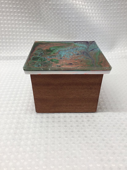 """Small Lift Lid Box """"Pour Paint Blue/Green/Rose Gold"""""""