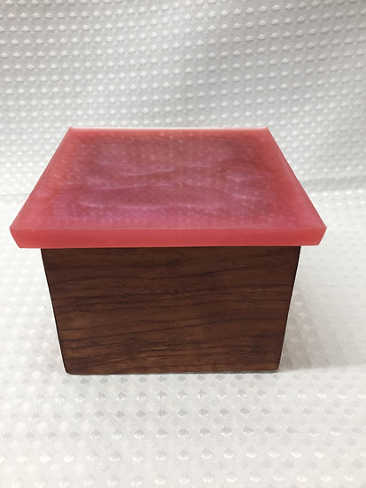 """Small Lift Lid Box """"Coral Red Sparkle"""""""