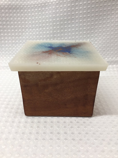 """Small Lift Lid Box """"Copper and Blue Splash on White"""""""