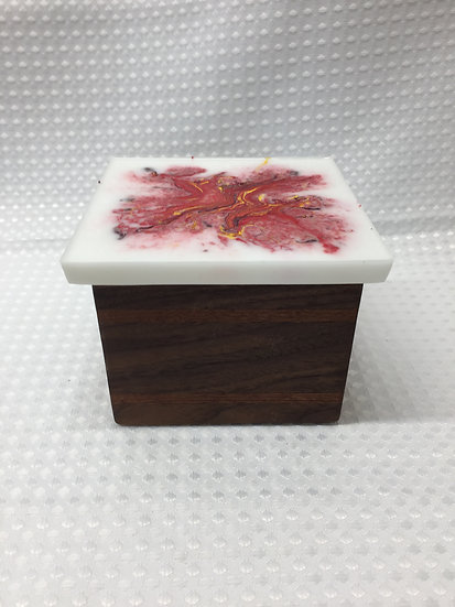 """Small Lift Lid Box """"Red and Yellow Swirl on White"""""""