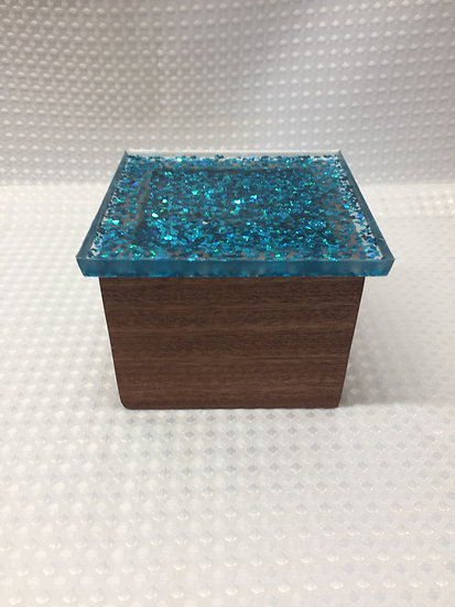 """Small Lift Lid Box """"Turquoise Sparkle"""""""