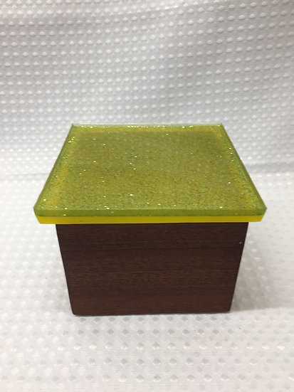 """Small Lift Lid Box """"Yellow with Green Sparkle"""""""