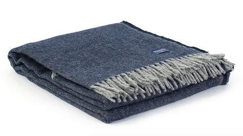 Ashby Twill Navy Wool Throw