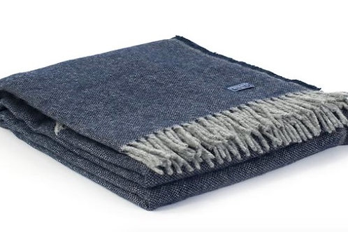 Ashby Twill Navy Wool Throw