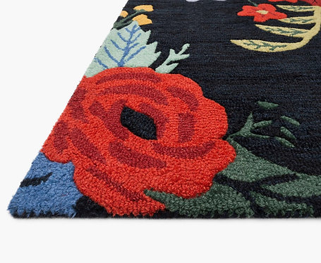 Juliet Rose Bouquet Wool-Hooked Rug