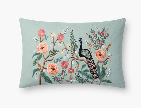 Mint Shanghai Embroidered Pillow