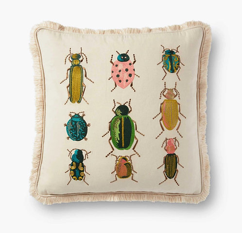 Beetles and Bugs Embroidered Pillow