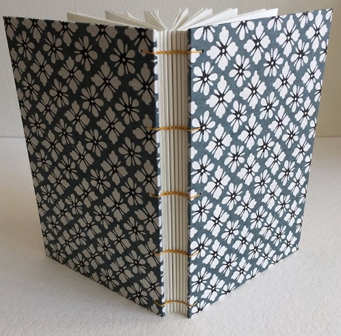 Coptic Stitched Japanese Blue and White Flowers