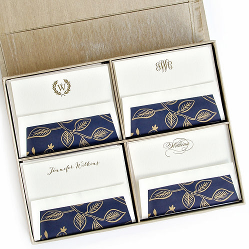 Gold Grand Silk Stationery Box