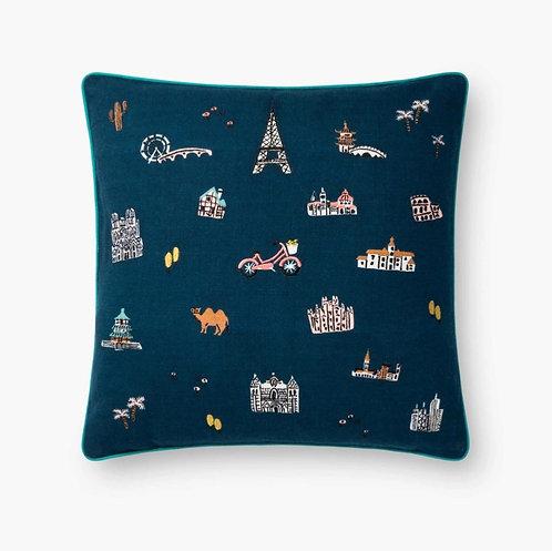 Wanderlust Embroidered Pillow