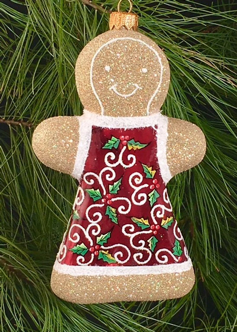 Red Holly Leaves Gingerbread Girl Ornament