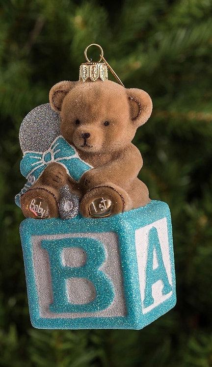 Blue Bear on Block Ornament