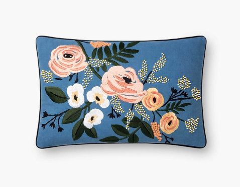 Violet Floral Embroidered Pillow