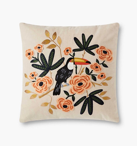 Toucan Embroidered Pillow