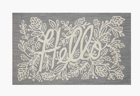 Hello Grey Wool-Hooked Rug