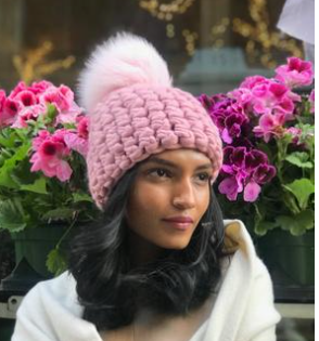 Dusty Rose Beanie Pomster with Baby Pink XL Pom