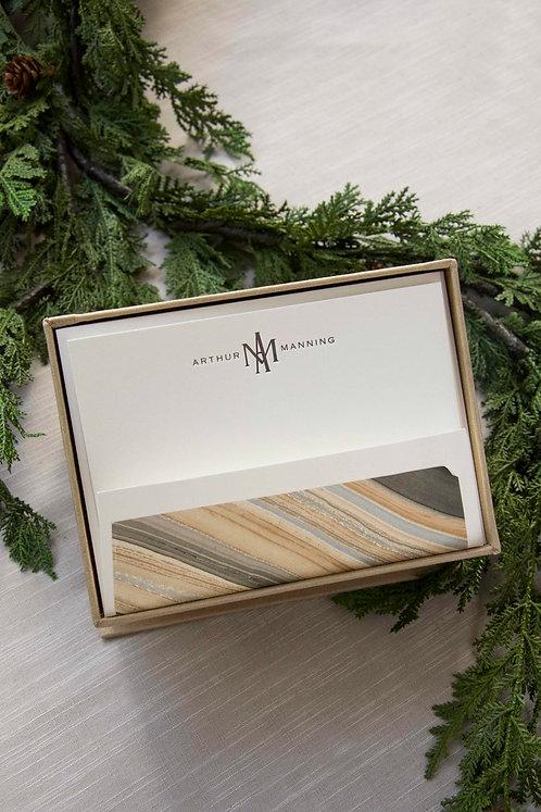 Gold Modern Petite Silk Stationery Box