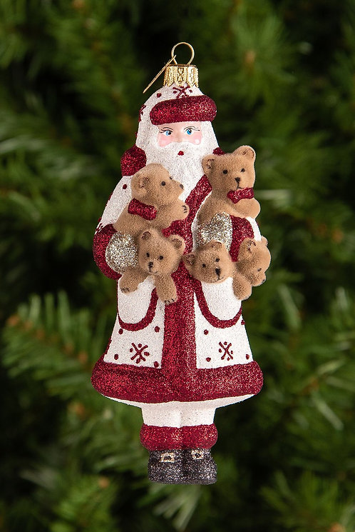 Santa and His Furry Friends Ornament