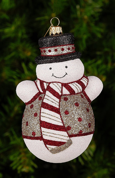 Silver Sleek Snowman Ornament