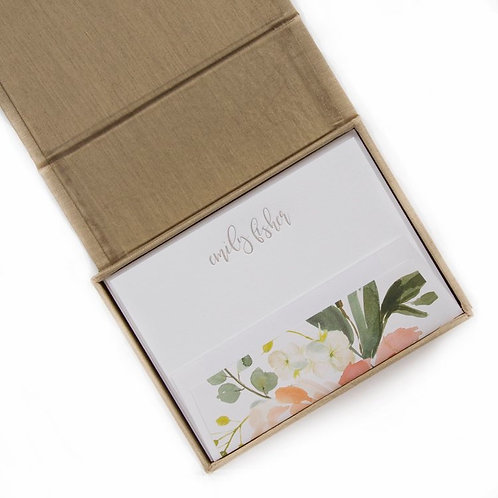 Gold Floral Petite Silk Stationery Box