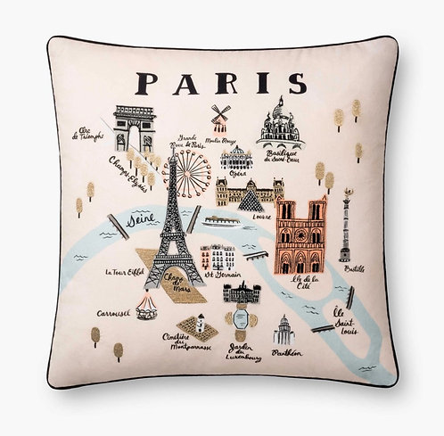 Paris Map Embroidered Pillow