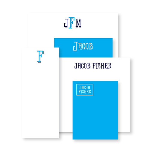 Luxe Set of Blue Custom Notepads