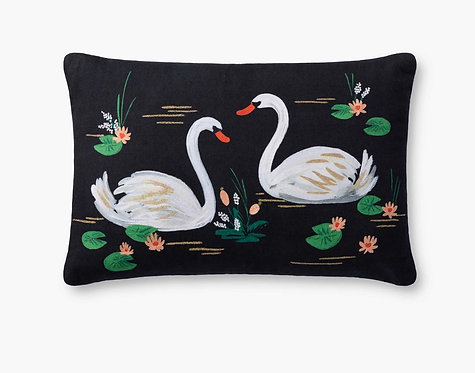 Swans Embroidered Pillow
