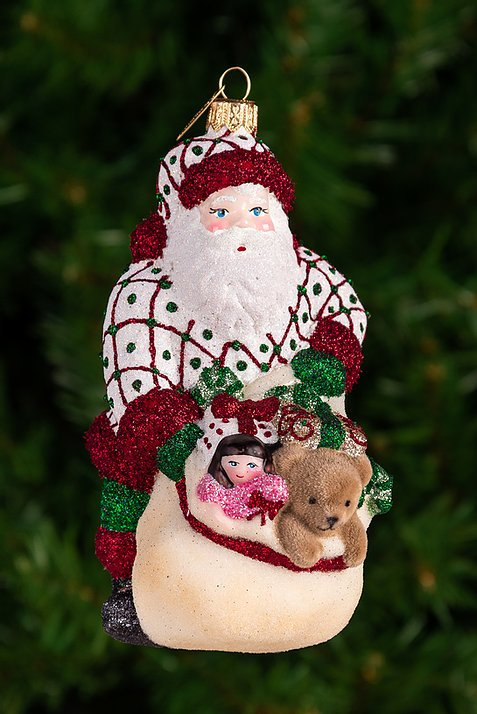 Polka Dot Santa Ornament