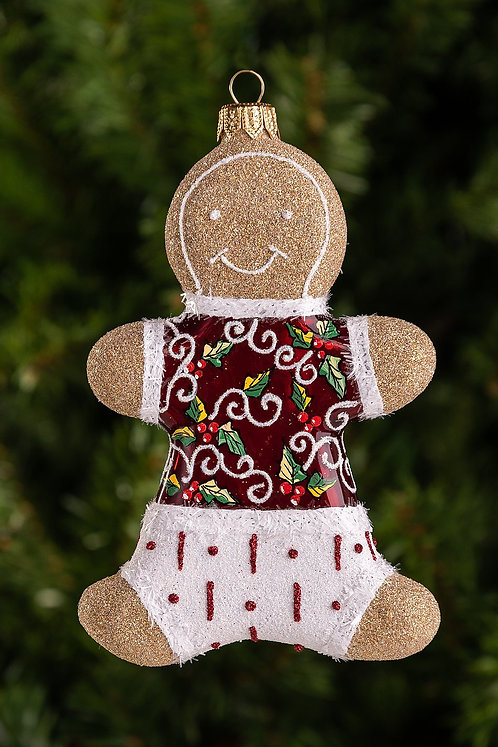 Red Holly Leaves Gingerbread Boy Ornament