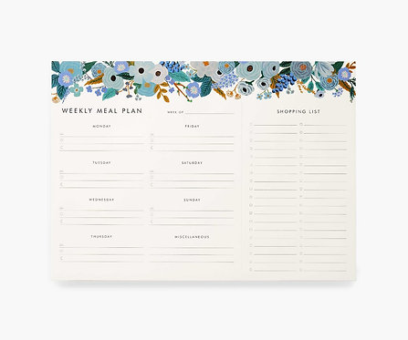 Rifle Paper Co. Garden Party Blue Weekly Meal Planner