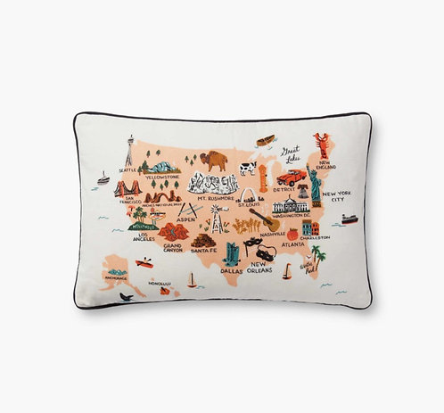 United States of America Embroidered Pillow
