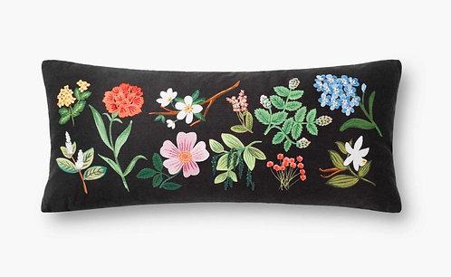 Floral Study Embroidered Lumbar Pillow