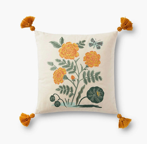 French Marigold Embroidered Pillow