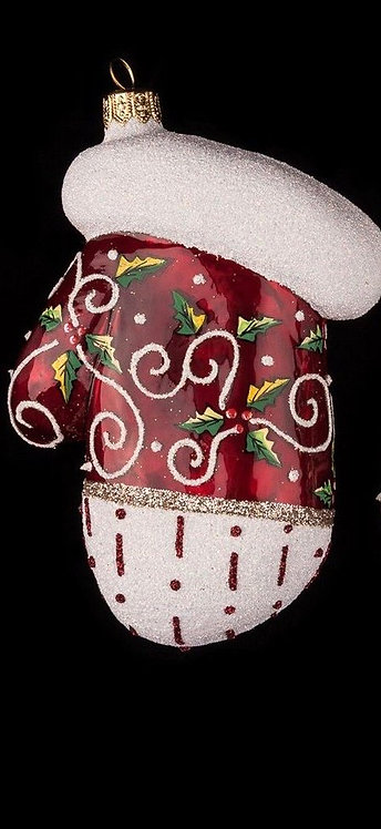 Red Holly Mitten Ornament