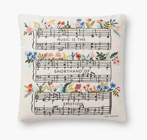 Music Quote Embroidered Pillow