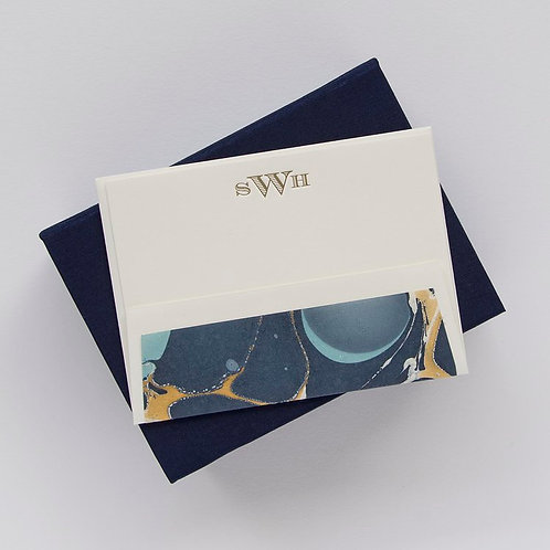 Navy Petite Silk Stationery Box