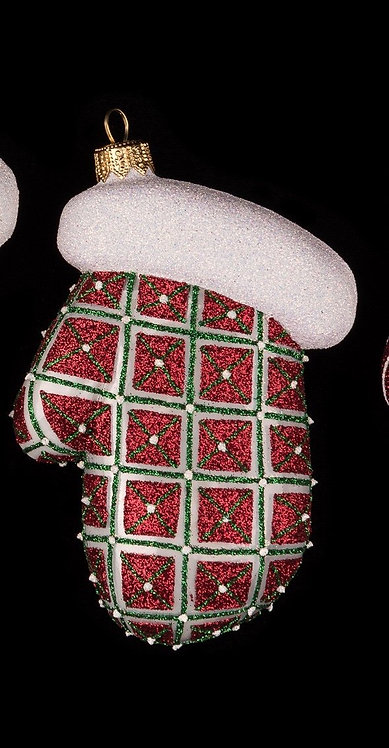 Red Quilted Mitten Ornament