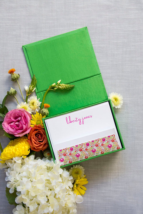 Green Petite Silk Stationery Box