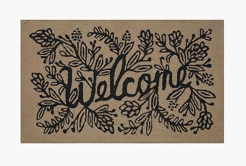 Welcome Natural Wool-Hooked Rug