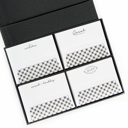 Grey Grand Silk Stationery Box