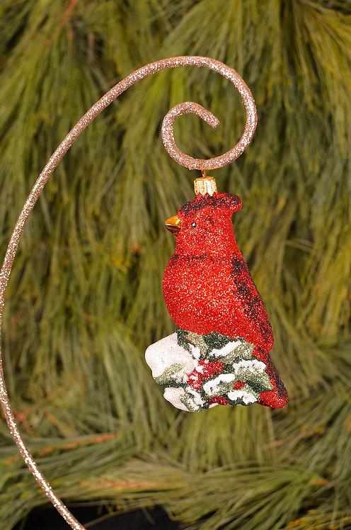 Glittered Crimson Cardinal Ornament