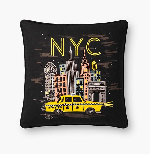 NYC Lights Embroidered Pillow