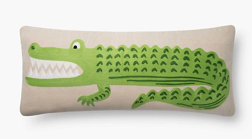 Alligator Embroidered Pillow