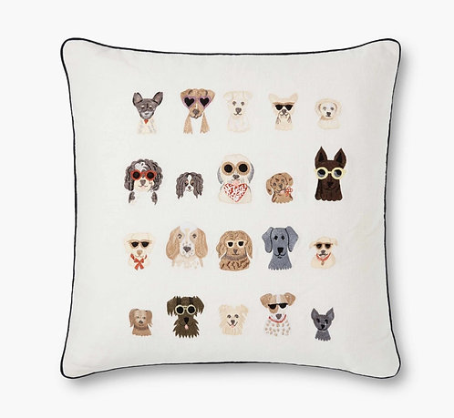 Dog Days Embroidered Pillow