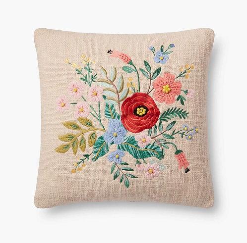 Garden Bouquet Embroidered Pillow