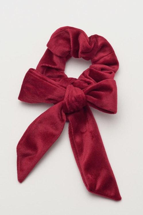 Velvet Red Bow Hair Scrunchie
