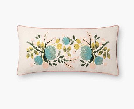 Botanical Embroidered Lumbar Pillow