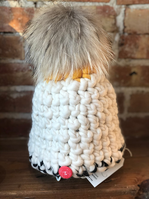 White and Yellow Beanie with Grey Pom