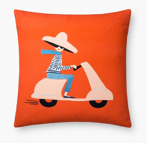Scooter Embroidered Pillow