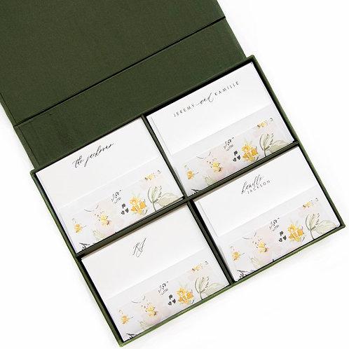 Olive Grand Silk Stationery Box